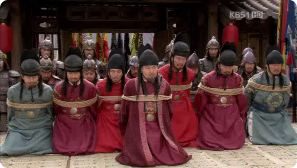 Tied Northern Wei envoys in kneeling postion