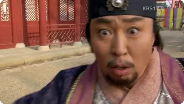 Chongmyeong terrified facial expression at his captors' presence