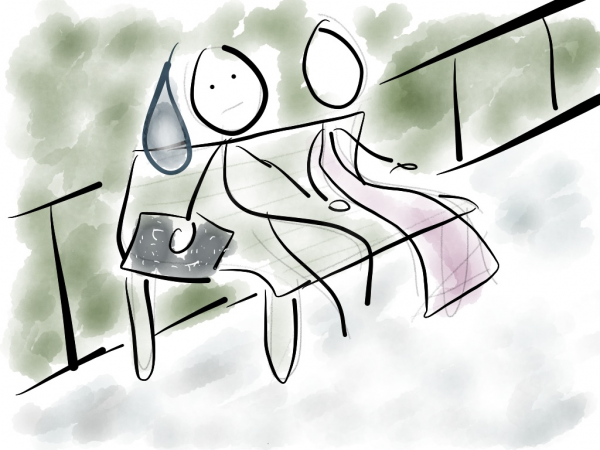 Drawing of worried guy sitting next to a girl on a park bench