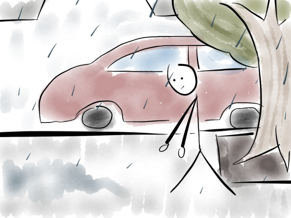 Drawing of a stick figure walking in the rain waiting for someone