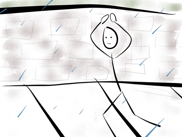 Image of stick figure walking quickly in the pavement trying to get somewhere place while under the rain