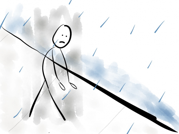 Illustration of an abandoned man walking on the streets with drooped shoulders