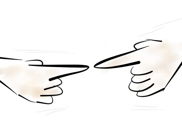 Drawing of two fingers touching
