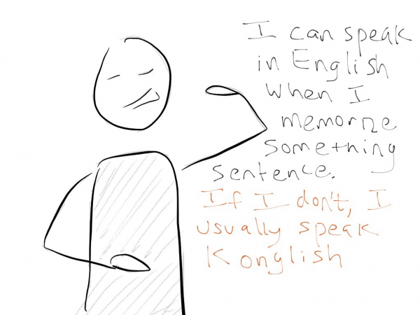 Drawing of a guy taking about his bad Konglish habit