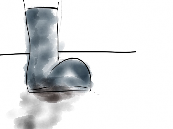 Drawn boot with something brownish at the bottom